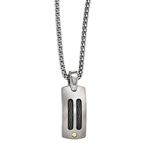 Edward Mirell Mens Stainless Steel Titanium Pendant Necklace