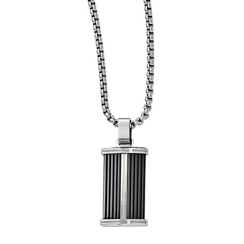 Edward Mirell Black Ti™ Mens Stainless Steel Titanium Pendant Necklace