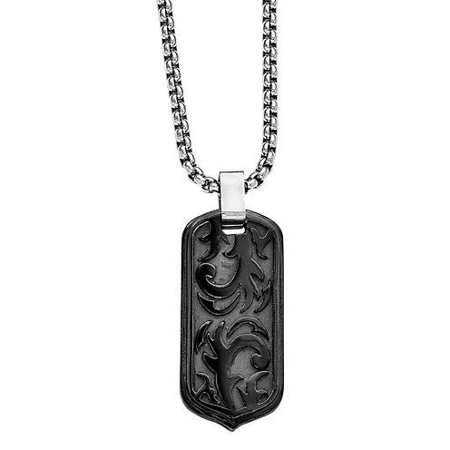 Edward Mirell Black Ti™ Mens Stainless Steel Titanium Pendant Necklace