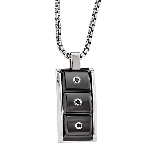 Edward Mirell Black Ti™ Mens Black Spinel Stainless Steel Titanium Pendant Necklace