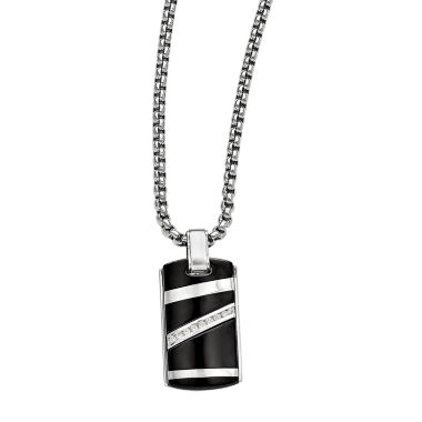 jcpenney.com | Edward Mirell Black Ti™ Mens 1/6 CT. T.W. Black Diamond Stainless Steel Titanium Pendant Necklace