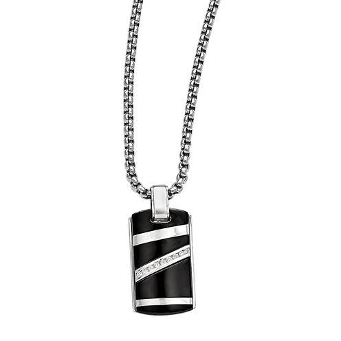 Edward Mirell Black Ti™ Mens 1/6 CT. T.W. Black Diamond Stainless Steel Titanium Pendant Necklace