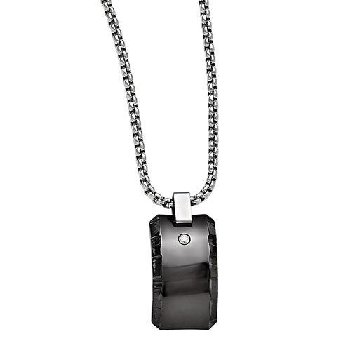 Edward Mirell Black Ti™ Mens 1/10 CT. T.W. Black Diamond Stainless Steel Titanium Pendant Necklace