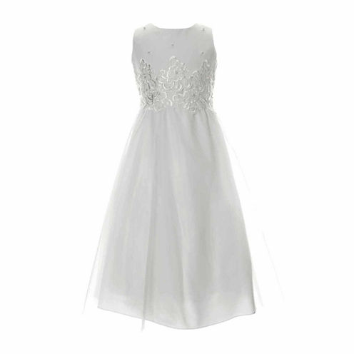 Keepsake Lace Bodice with Pearl Detail Satin Communion Dress - Girls 6X-14 and Plus
