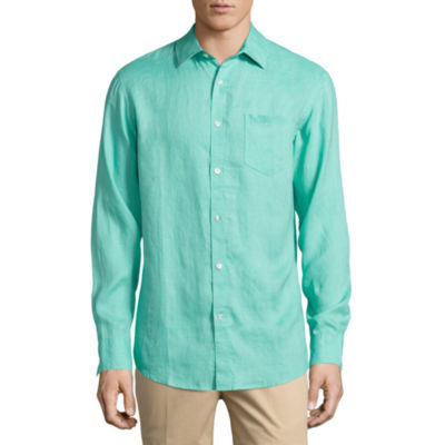 claiborne long sleeve linen button front shirt jcpenney