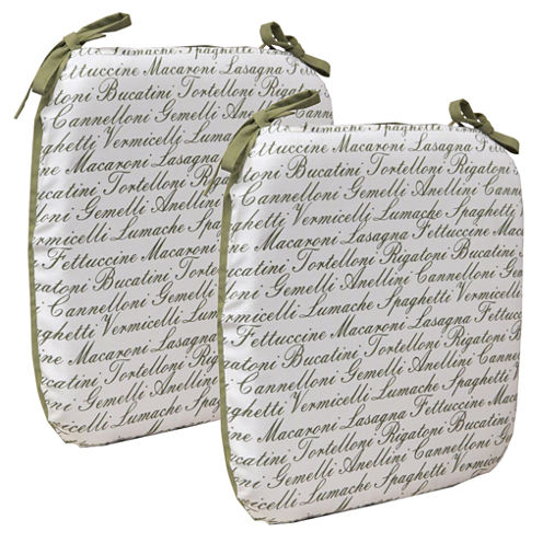 Klear Vu Mangia Pasta Chair Pads with Ties, Set of 2