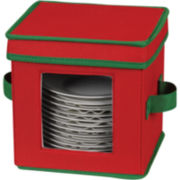 Household Essentials® Red Holiday Saucer Chest + Green Trim
