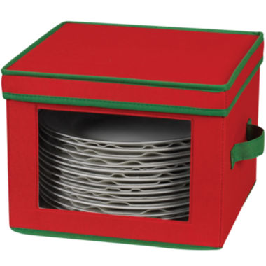 jcpenney.com | Household Essentials® Red Holiday Dinner Plate Storage Chest
