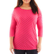 Liz Claiborne 3/4-Sleeve Striped Tee - Plus