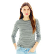 Joe Fresh™ Long-Sleeve Striped Crewneck Tee