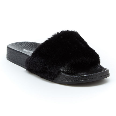Union Bay Fuzzy Womens Slide Sandals