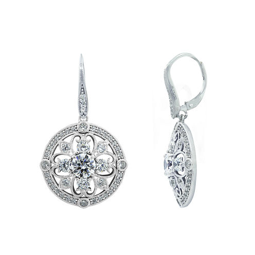 Diamonart White Cubic Zirconia Sterling Silver Drop Earrings