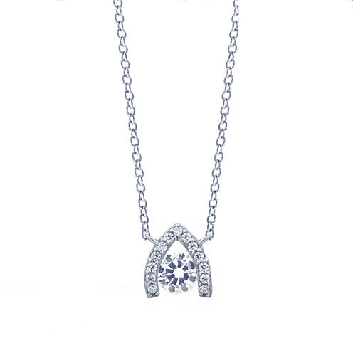 Diamonart Sterling Silver Cubic Zirconia Pendant Necklace