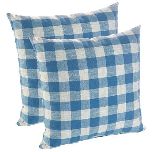 "Klear Vu Liza 18"" Buffalo Check Decorative Pillows, Set of 2"