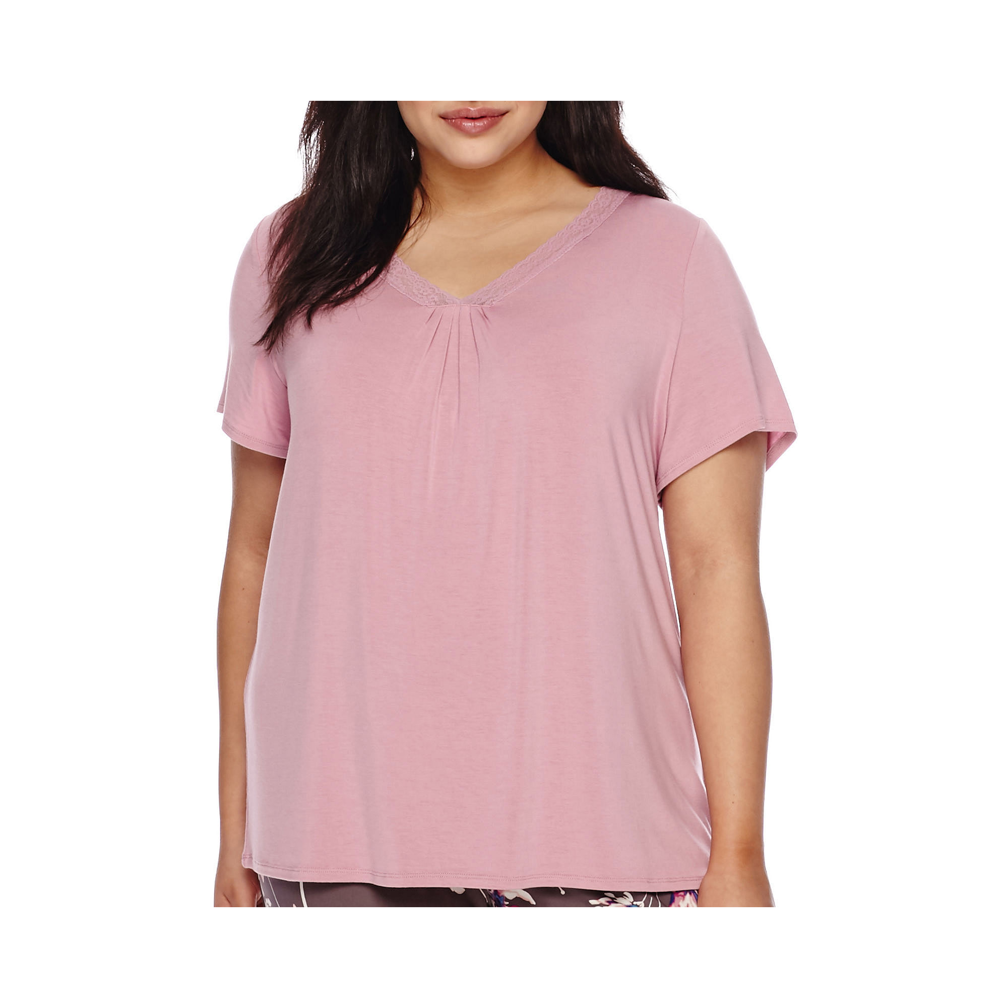 Ambrielle Lace-Accented Short-Sleeve Sleep Tee - Plus plus size,  plus size fashion plus size appare