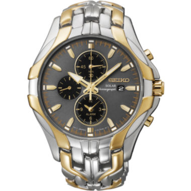 jcpenney.com | Seiko® Excelsior Mens Two-Tone Chronograph Solar Watch SSC138