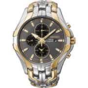 Seiko® Excelsior Mens Two-Tone Chronograph Solar Watch