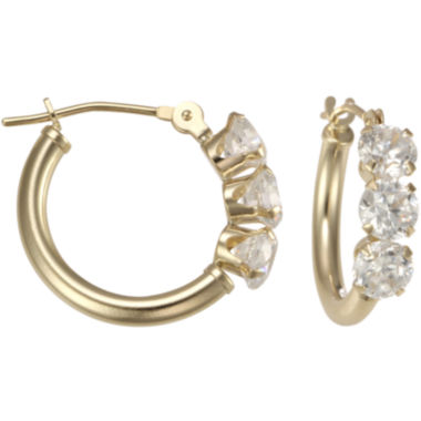 jcpenney.com | 14K Yellow Gold Triple Cubic Zirconia Hoop Earrings