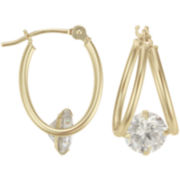 Cubic Zirconia Hoop Earrings 14K Gold