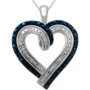 Genuine & Irradiated Blue Diamond-Accent Heart Pendant
