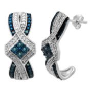 1/5 CT. T.W. Genuine White & Color-Enhanced Blue Diamond Earrings