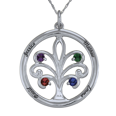 Personalized 10K White Gold Family Tree Birthstone Pendant Necklace