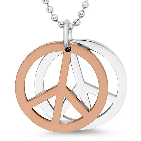 Mens Stainless Steel Peace Pendant Necklace