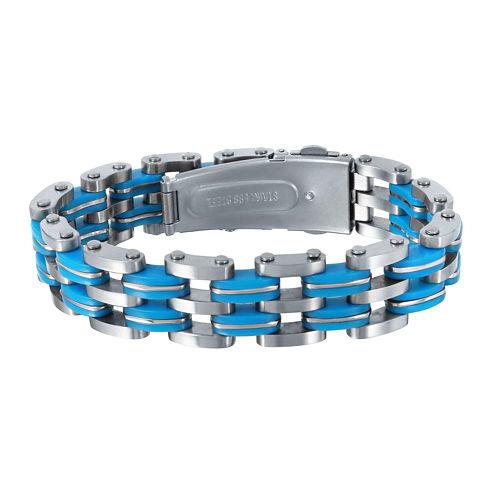 Mens Stainless Steel Blue Resin Bracelet