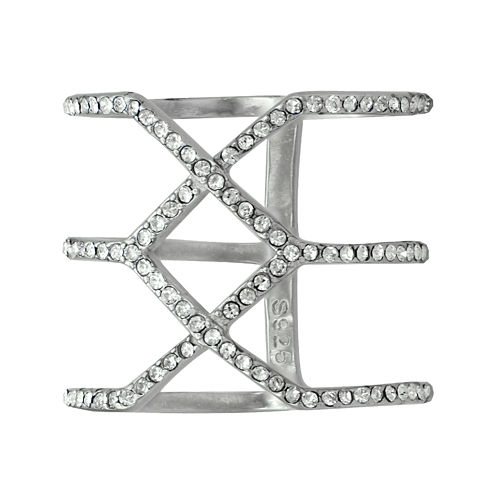 Sterling Silver Crystal Geometric Ring