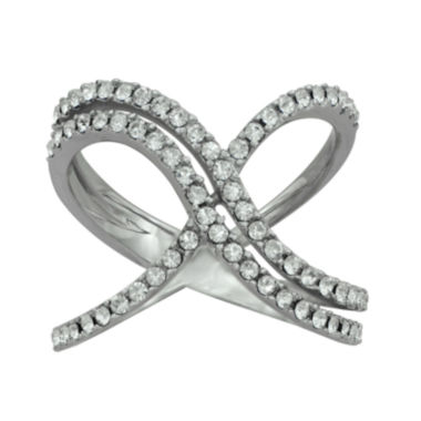 jcpenney.com | Crystal Sterling Silver Double X Ring