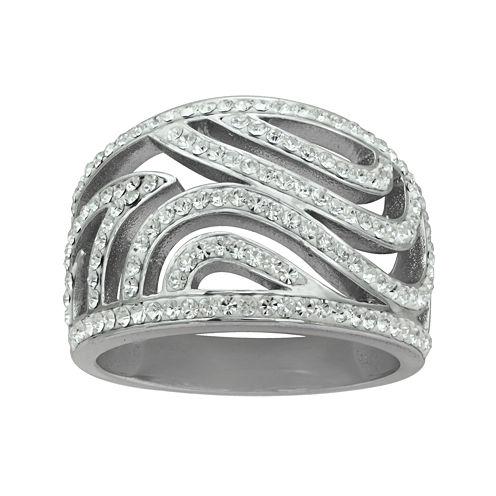 Crystal Sterling Silver Swirl Ring