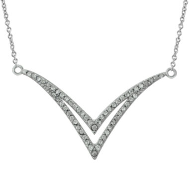 jcpenney.com | Crystal Sterling Silver Double V Necklace