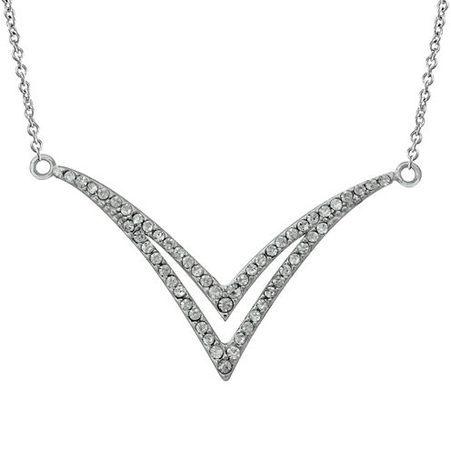 Crystal Sterling Silver Double V Necklace