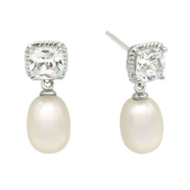 jcpenney.com | DiamonArt® Cubic Zirconia and Cultured Freshwater Pearl Sterling Silver Drop Earrings