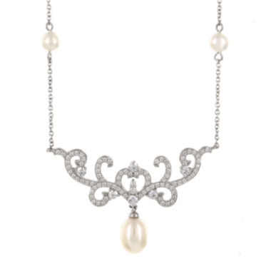 jcpenney.com | DiamonArt® Cultured Freshwater Pearl & Cubic Zirconia Sterling Silver Necklace