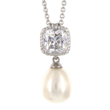 jcpenney.com | DiamonArt® Cultured Freshwater Pearl and Cubic Zirconia Sterling Silver Pendant Necklace