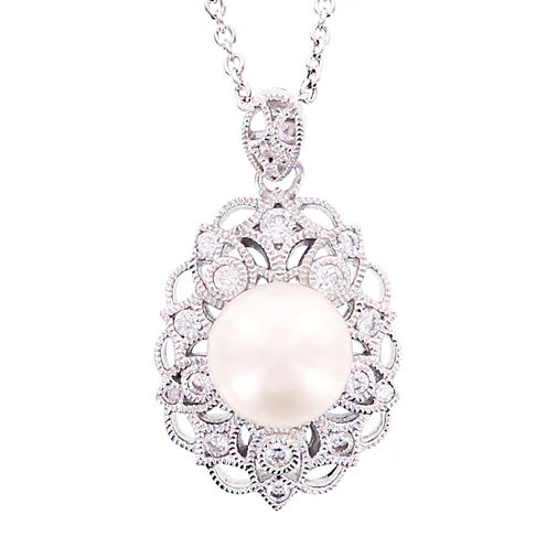 DiamonArt® Cultured Freshwater Pearl & Cubic Zirconia Sterling Silver Pendant Necklace