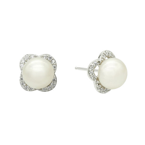 DiamonArt® Cultured Freshwater Pearl and Cubic Zirconia Sterling Silver Earrings