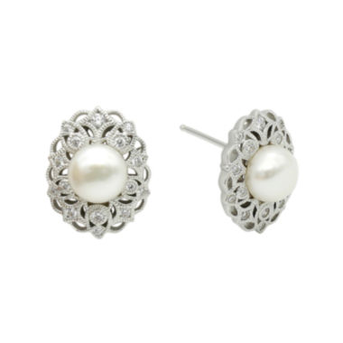 jcpenney.com | DiamonArt® Cultured Freshwater Pearl & Cubic Zirconia Sterling Silver Earrings