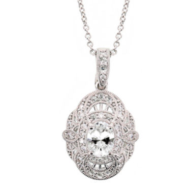 jcpenney.com | DiamonArt® 3.36 CT. T.W. Cubic Zirconia Sterling Silver Oval Pendant Necklace