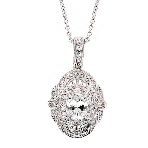 DiamonArt® 3.36 CT. T.W. Cubic Zirconia Sterling Silver Oval Pendant Necklace