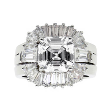 jcpenney.com | DiamonArt® Cubic Zirconia Sterling Silver Starburst Bridal Ring Set