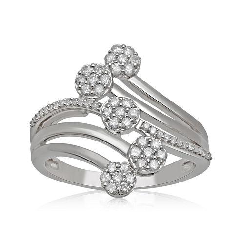 diamond blossom 1/2 CT. T.W. Diamond Sterling Silver Ring