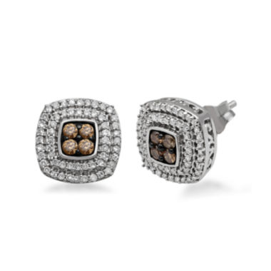 jcpenney.com | 1/2 CT. T.W. White and Champagne Diamond Sterling Silver Earrings