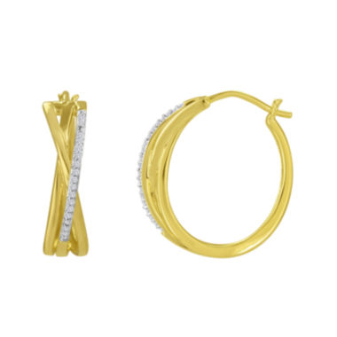 jcpenney.com | 1/10 CT. T.W. Diamond 14K Yellow Gold Over Silver Diamond Hoops Earrings