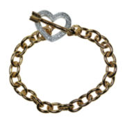 1/10 CT. T.W. Diamond 14K Yellow Gold Over Brass Heart Bracelet