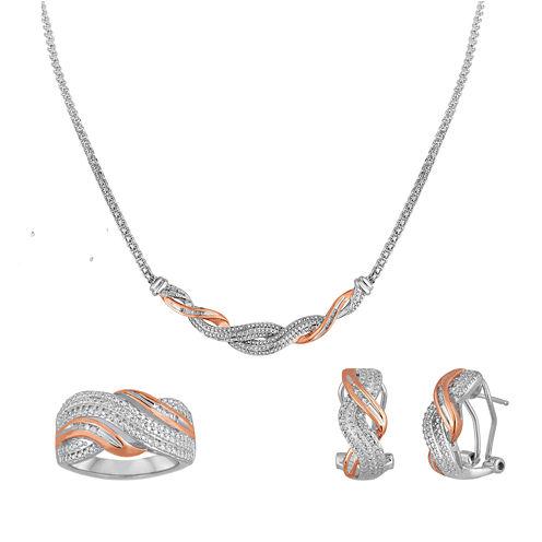 1/5 CT. T.W. Diamond Pure Silver Over Brass 3-pc. Jewelry Set