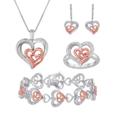 jcpenney.com | ForeverMine® Silver Over Brass With 14K Rose Gold 4 pc. Jewelry Box Set