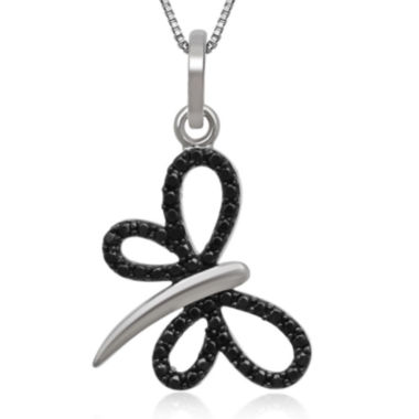 jcpenney.com | 1/10 CT. T.W. White and Color-Enhanced Black Diamond Sterling Silver Dragonfly