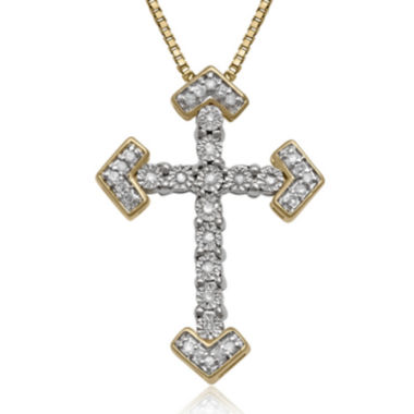 jcpenney.com | Diamond Miracle 1/10 CT. T.W. Diamond 14K Gold Sterling Silver Cross Pendant Necklace